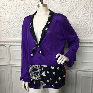 100% Silk Avant Toi Mixed Print Purple Cardigan